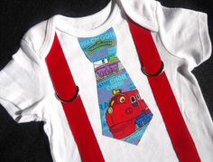 Shop for on Etsy, the place to express your creativity through the buying and selling of handmade and vintage goods. Birthday Stuff, 2nd Birthday, Birthday Ideas, Chuggington Birthday, Red Suspenders, Train Party, Party Themes, Onesies, Birthdays