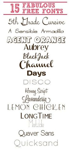 15 Fabulously Free Fonts | Simply Frugal  ~~ {15 free fonts w/ easy links}
