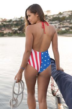 63a57974f90b8 Women's Flag One Piece Bathing Suit | Tipsy Elves. Onepiece, Stars and  Stripes,
