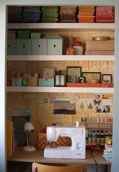 I like this sewing-room-in-a-cupboard - though I might have to take the machine out to a table for large-scale projects.