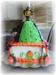 Homemade Sassy Witch Cake Design: For this Sassy Witch Cake Design I sculpted the top part of the witch from clay and used the doll pan for the bottom.