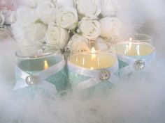 6 Candle Holders Tiffany Bridal Shower by GenevieveAndPenelope Bridal Shower Favors, Bridal Shower Decorations, Wedding Reception Decorations, Wedding Centerpieces, Prom Decor, Tiffany Birthday Party, Twin Birthday Parties, Aqua Wedding, Tiffany Wedding