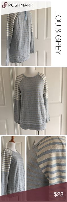 LOU & GREY striped sweatshirt with back zipper xs ♦️ Excellent condition. No stains, holes or piling.                                                           ♦️Runs large ♦️materials- 64 cotton/ 36 polyester  ♦️Measurements: ♦️Underarm to underarm flat across is approximately 17 inches     ♦️Back of neck to bottom of front hem is approximately 26.5 inches Lou & Grey Tops Sweatshirts & Hoodies