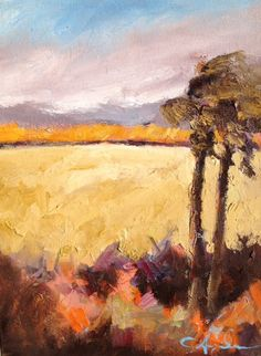 Florida Marsh, original oil painting of marsh with palm trees on canvas, 12 x 16  inches.