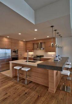 Modern House Interior Kitchen 39 Big Kitchen Interior Design Ideas for A Unique Kitchen Contemporary Kitchen Design, Interior Design Kitchen, Modern Interior Design, Kitchen Designs, Contemporary Homes, Modern Interiors, Modern Decor, Modern Rustic, Design Interiors