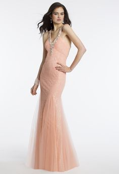 Camille La Vie Sequined and Lace Prom Dress with Wispy Godet Detail around the Skirt