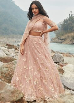 #mauve #embroidery #lehenga #choli #dupatta #indianwear #traditional #outfit #beautiful #bride #new #designer #collection #ootd #wedding #time #womenswear #online #shopping Design Show, Lehenga Choli, Dressing, Peach, Sequins, Patterns, Colors, Unique, Fabric