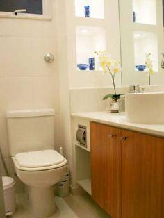Banheiro de um loft de 25 m². Projeto de Maria Helena Torres.