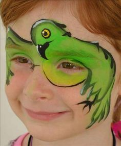 Parrot Face Painting by Dawn Dewitt - DawnDewittStudios.com - copyright Dawn Dewitt