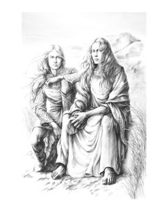 """Finrod and Maedhros in Mithrim after the rescue of Maedhros"" The Coast Of Mithrim by ~tuuliky"
