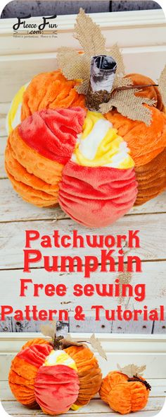 Patchwork Fabric Pumpkin Tutorial (free) pattern! This cute pumpkin goes perfectly with last year's Scrunched Pumpkin Pattern.  This patchwork pumpkin tutorial is cute soft fun and best of all – if you have little kiddos it's hard to destroy.  ( it's been tested by my 2 year old).