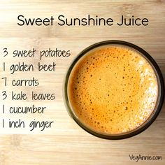 Sweet sunshine juice! Full of vitamins and minerals in every sip! (And a whopping 7g of protein per serving!)