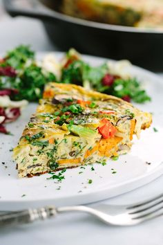 Italian Frittata Recipe - Each slice is packed with healthy vegetables like kale and sweet potato filling, a wholesome breakfast dish. | jessicagavin.com
