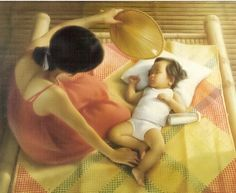 Mag-ina sa Banig (Mother and Child on a mat) by Nestor Leynes Filipino Art, Filipino Culture, Philippine Art, Filipiniana, My Heritage, Mothers Love, Mother And Child, More Fun, Illustration Art
