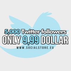 Buy 5,000 Twitter followers = only 9,99 dollar.  Exclusive on SocialStore.eu.