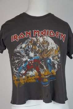1265c014 IRON MAIDEN Vintage Concert Shirt 80's TOUR Dates T The Number Of The Beast  1982 Metal