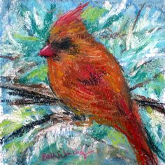 Winter Bird is a mixed media painting.  Pastel and acrylic.  5 x 7
