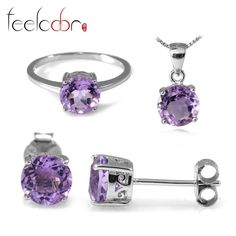 4.4ct Natrual Amethyst Ring Earring Pendant Necklace Jewelry Sets 925 Solid Sterling Silver Round Shape Gemstone Women Gift