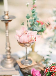 vintage centerpiece with pink orchid