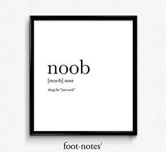 Noob definition, dictionary art print, funny poster, poster