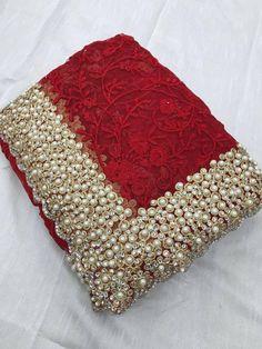 Designer bridal work with embroidery work saree heavy moti work saree by AlishafashionStudio on Etsy Desi Wedding Dresses, Pakistani Wedding Outfits, Wedding Wear, Wedding Sarees, Embroidery Saree, Beaded Embroidery, Embroidery Fabric, Embroidery Stitches, Embroidery Designs