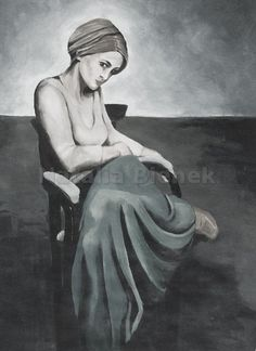 Digital picture,Fine art,Original Painting,Acrylic on canvas,Gray,Shades of gray,Contemporary Art,Portrait,Girl,Sitting on a chair by BienekArt on Etsy