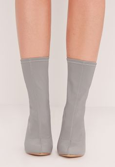 Missguided - Pointed Toe Neoprene Heeled Ankle Boots Grey