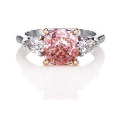 De Beers cushion-cut Fancy Intense pink diamond ring