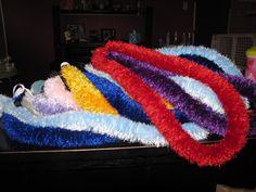 eyelash yarn lei, made for graduation