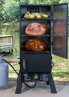 "Start a new tradition this holiday season when you cook your holiday dinner in a smoker. Smoked turkeys and other foods come out juicy, tender and delicious. Click through for the recipe for ""Dadgum Good"" Smoked Turkey. Masterbuilt Propane Smoker, Gas Smoker, Propane Smokers, Meat Smokers, Barbecue Smoker, Bbq Grill, Smoke Grill, Smoker Cooking, Smoking Recipes"