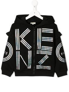 Black cotton TEEN logo zipped hoodie from Kenzo Kids featuring a printed logo to the front, a hood, a front zip fastening, dropped shoulders, long sleeves and a ribbed hem and cuffs. Kenzo Kids, Kids Logo, Cotton Logo, Color Negra, Zip Hoodie, Black Hoodie, Black Cotton, Cool Kids, Adidas Jacket
