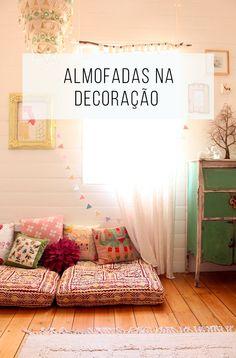 Almofadas podem ser o que faltava para sua decoração ;-) Veja só como fazem toda diferença! // palavras-chave: decoração, inspiração, decoração de interiores, inspiração e ideias de almofadas, diy almofadas, diy pillow, almofadas no chão, design, casa, quarto, ideias diferentes.