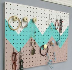 Informations About Your place to buy and sell all things handmade Pin You can e… - pegboard Pegboard Craft Room, Painted Pegboard, Pegboard Organization, Craft Desk, Jewelry Organization, Kitchen Pegboard, Craft Rooms, Organizing, Diy Craft Projects