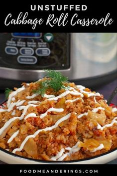 This Slow Cooker Unstuffed Cabbage Roll Casserole is the ultimate Lazy Man's cabbage rolls. Made in the crock pot with lean ground beef, instant rice, cabbage and condensed tomato soup, this dish is easy and Weight Watchers friendly at only 5 WW points on the blue plan! Slow Cooker Ground Beef, Slow Cooker Bread, Slow Cooker Casserole, Slow Cooker Chicken, Casserole Recipes, Slow Cooker Recipes, Beef Recipes, Lazy Cabbage Rolls, Slow Cooker Cabbage Rolls