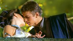 Anakin and Padme kiss behind the scnese. I LOVE THIS. EVERYTHING ABOUT IT. The angle and the look on his face and the fact it is behind scenes. SO romantic and cute. I. LOVE. IT