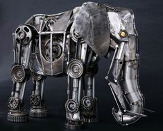 by Andrew Chase - steampunk machine, steampunk sculpture, steampunk elephant - Steampunk pictures Steampunk Kunst, Style Steampunk, Car Part Art, Steampunk Animals, Sculpture Metal, Abstract Sculpture, Sculpture Rodin, Sculpture Ideas, Elephant Sculpture
