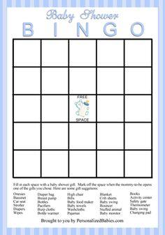 Free Baby Shower Bingo Printable