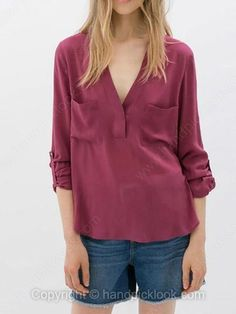 f270921448be2 Red V-neck Long Sleeve Pockets Blouse - 20.09 Fall Winter
