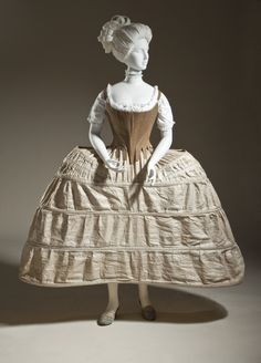 Stays and panier (hoop petticoat), England, stays: c. 1780, panier: 1750-1780. Stays: brown linen twill and baleen; panier: linen plain weave and cane.