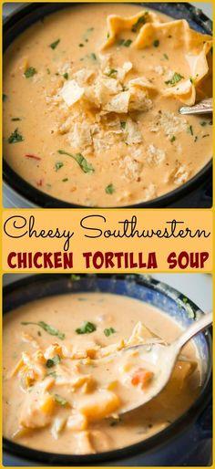 Cheesy Southwestern Chicken Tortilla Soup via @ohsweetbasil