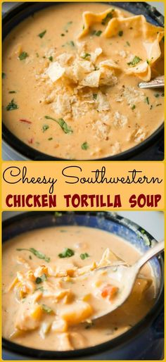 Cheesy Southwestern Chicken Tortilla Soup via @ohsweetbasil