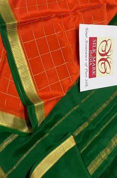 Red Checks Handloom Mysore ... Red Fabric, Silk Fabric, Woven Fabric, Crepe Silk Sarees, Silk Crepe, Mysore Silk Saree, Color Schemes, Delicate, Pure Products