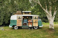 """The great outdoors to go: Classic campervans ... Owner Ian says: """"This was the perfect restoration project: my dream 1967 VW SO 42 Westfalia Campmobile. I got Florence, as she is now called, shipped over to England from America. With the help of my friend, an expert restorer, we got started on the four-year task of getting her to her current condition. Florence is the archetypal VW Type 2 split-screen vehicle that were produced between 1950 and 1967."""