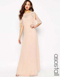 Asos Tall Embellished Flutter Sleeve Maxi Dress