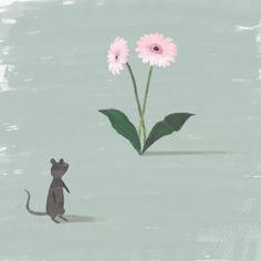 """ねずみと花 """"Rat and flower"""" #illustration #animal"""