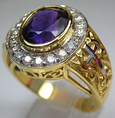 Bishop rings are not only for bishops. You are able to add a bit of mystery to your look with this Amethyst Bishop Ring. It features a real precious amethyst! Rose Gold Jewelry, Diamond Jewelry, Glass Jewelry, Bishop Ring, Deco Engagement Ring, Christian Jewelry, Diamond Art, Silver Man, Rings For Men