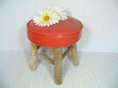 Vintage Retro Round Orange Vinyl Upholstery & Wood by DivineOrders