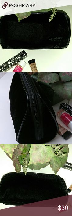 """Chanel Parfums Black Velvet Makeup or Toiletry Bag In gently used condition. 9.25"""" wide X 5.25"""" tall x 3.5"""" deep. Clean inside and free of marks or stains. Minor signs of use at the bottom where it sits. Otherwise, like-new condition! CHANEL Bags Cosmetic Bags & Cases"""