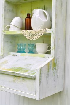 Rustic Hanging Secretary Wall Cabinet Shelves Spring Green and White Cubby Lidded Compartment Weathered Shelf Storage--over toilet storage option