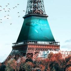 The Eiffel Tower Paris. Animals and Architecture Photoshopped Surrealism. By Julien Tabet.